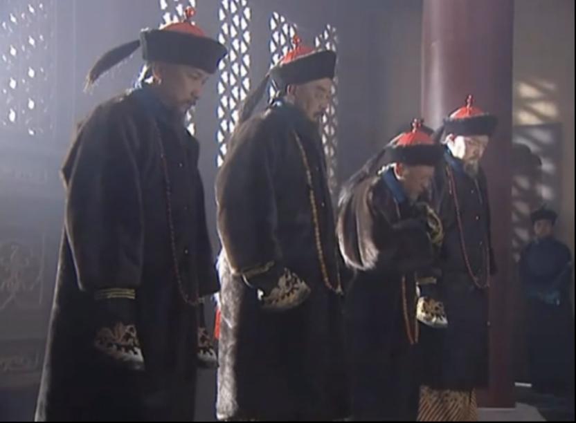 电视剧《康熙王朝》截图,四大臣觐见年幼的康熙帝