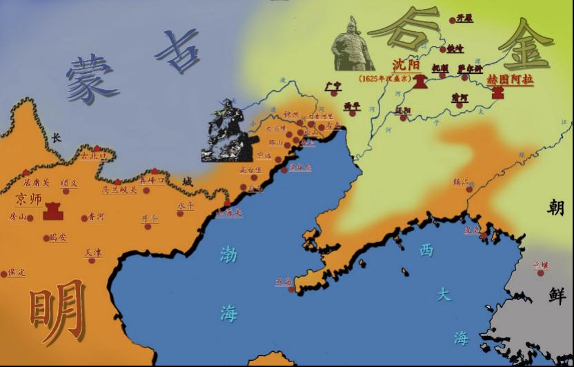 明、后金对峙局势。皮岛在鸭绿江入海口东南位置