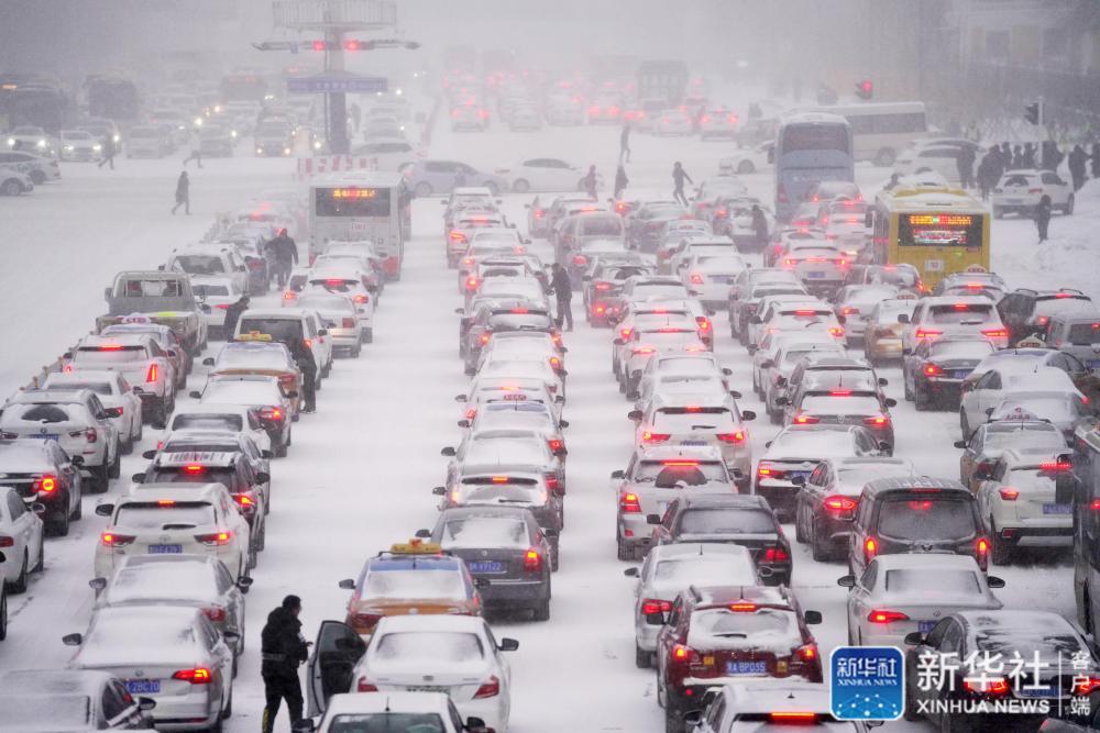↑11月19日,在哈尔滨市中山路,车辆在雪中等待交通信号。新华社记者 王建威 摄