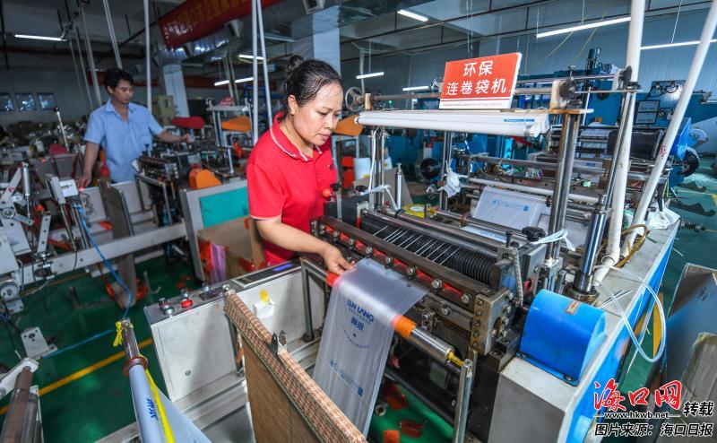 11月19日,位于金鹿工业园区的诚佳美生产车间内,工作人员操作环保连卷袋机生产可降解连卷袋。记者 康登淋 摄
