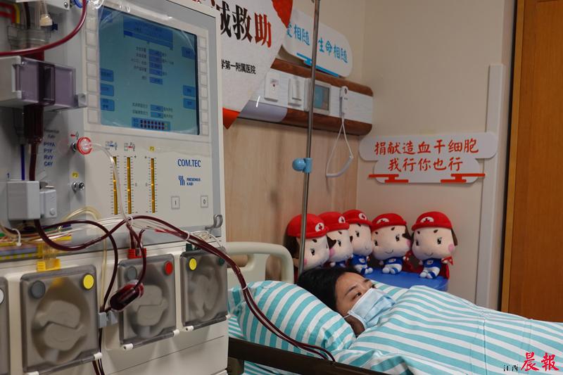 ▲在加入中華骨髓庫3年多後,昨日,省紅十字會工作人員夏曉雯爲一名遠在福建、年僅2歲的小患者乐成捐獻自己的造血幹細胞。