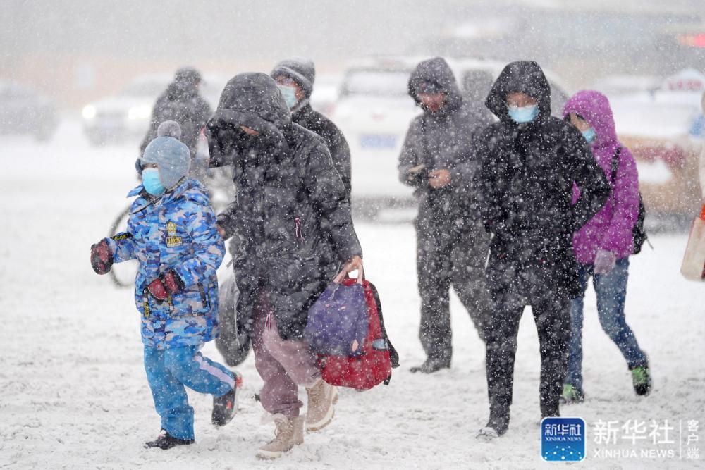 ↑11月19日,在哈尔滨市中山路,市民在雪中行走。新华社记者 王建威 摄