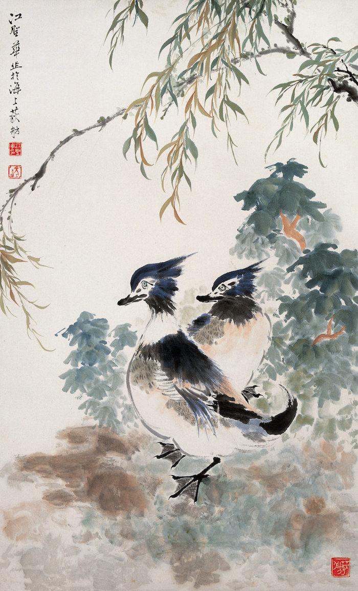 江圣华 《鸳鸯》 纸本设色  1981年