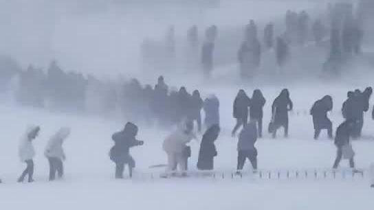 实拍:哈尔滨暴雪 大学生艰难跋涉排长队去上课