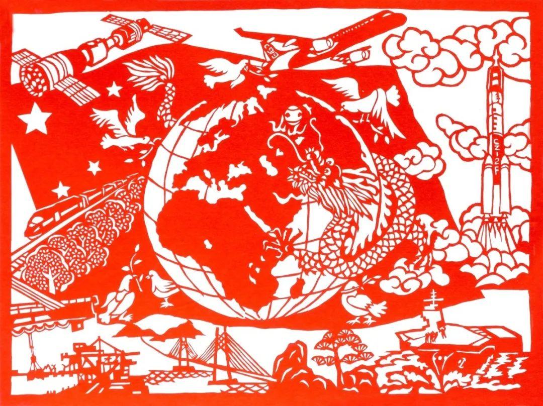 剪纸《共享和平发展》