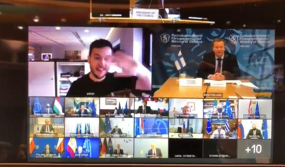 """荷兰记者突然""""闯入""""欧盟成员国防长间的保密视频会议"""