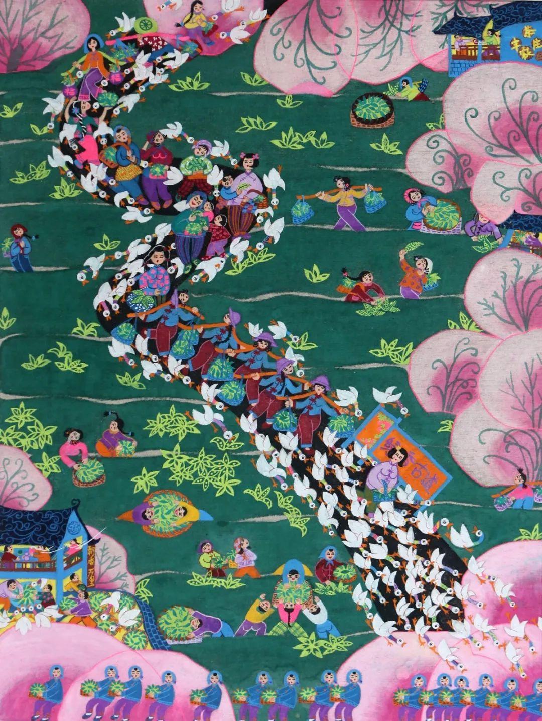 麻布农民画《热闹的茶园》