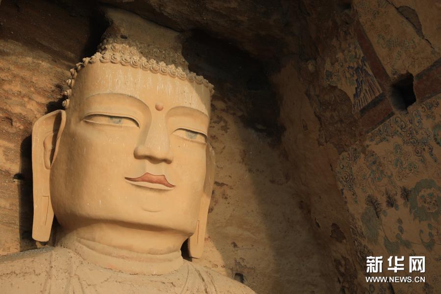 11月19日拍摄的天梯山石窟13号窟 新华社记者 杜哲宇 摄
