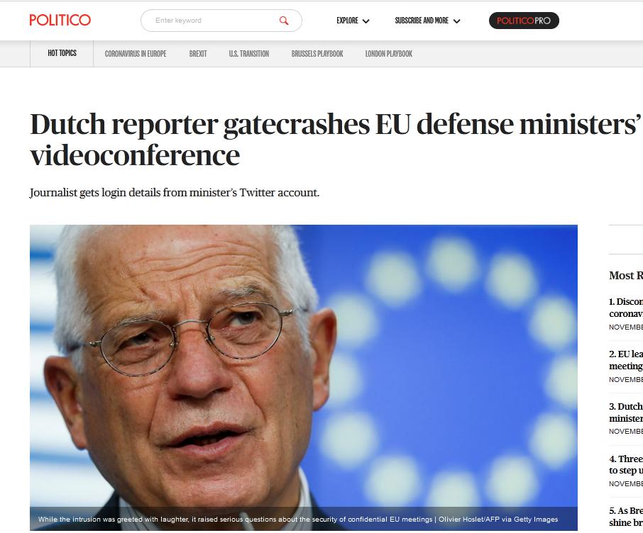 欧盟防长们正开保密视频会议,突然闯入一名荷兰记者… 热点资讯 第1张