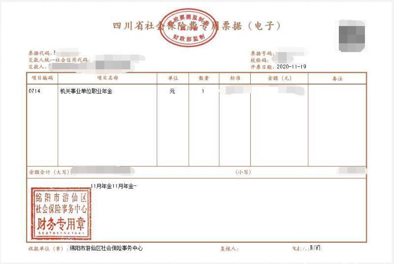游仙区开出全市第一张社保基金专用电子票据