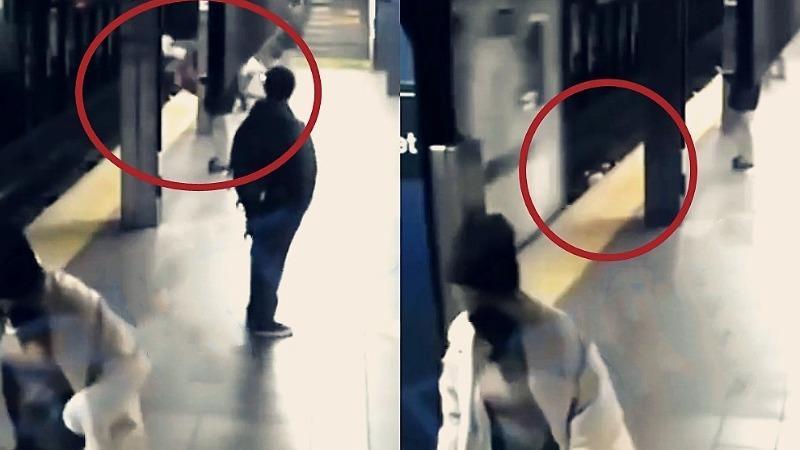 惊魂一幕!纽约地铁进站瞬间 女子遭陌生人推下站台