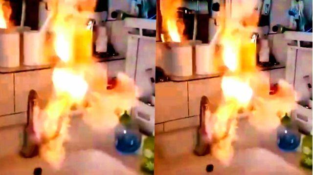 蹊跷!辽宁一村民家自来水可点燃 打火机一点火焰猛烈喷出