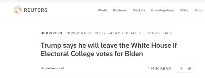 路透社:特朗普表示,如果选举人团投票给拜登,他将离开白宫