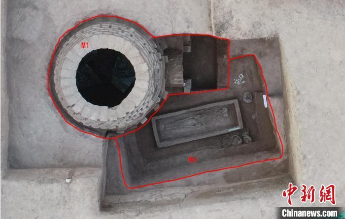 东周墓M6与金代墓M1布局。山西省考古研究院供图