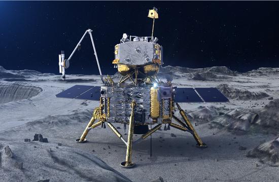 嫦娥五号探测器在月面工作示意图。(图片来源:国家航天局)