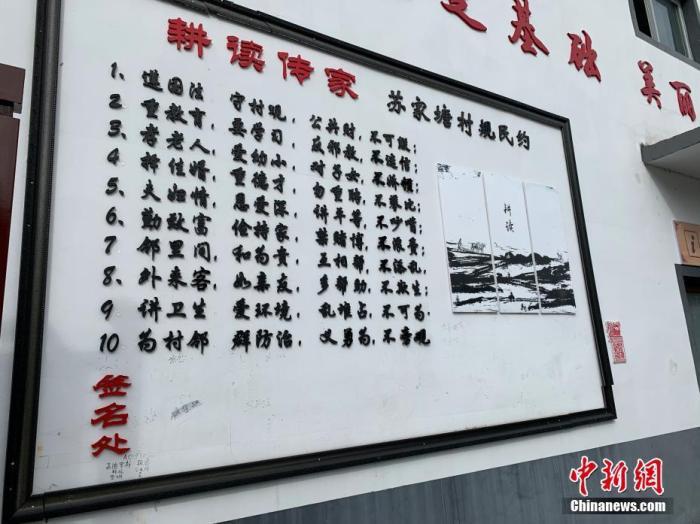 """苏家塘村的墙面上""""耕读传家""""的村规民约。 中新网 彭婧如 摄"""