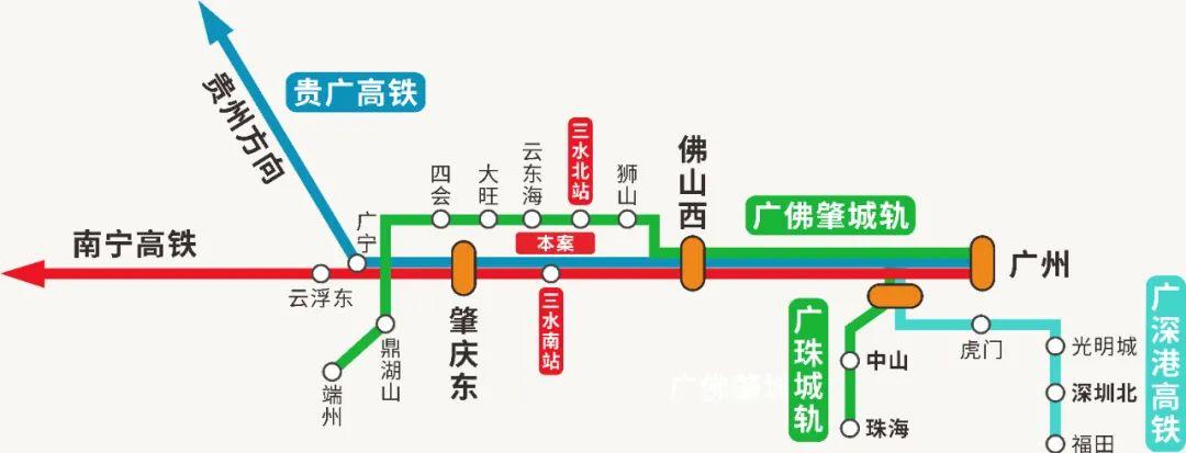 三水南站线路示意图