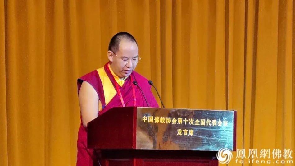 中国佛教协会副会长班禅额尔德尼•确吉杰布作大会发言(图片来源:凤凰网佛教)