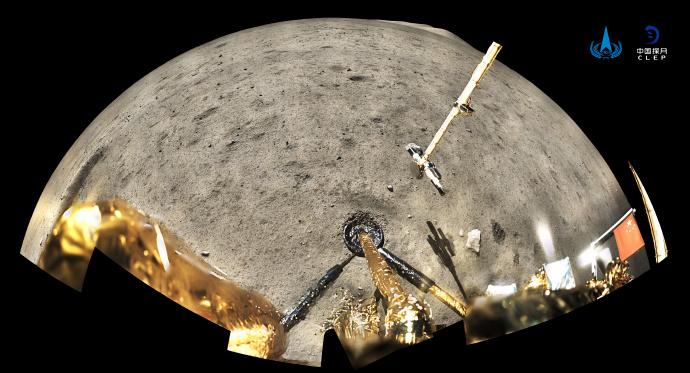 历史性画面!嫦娥五号月表国旗展示照片公布
