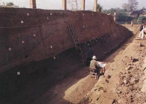 城头山古城址西南城墙解剖场景