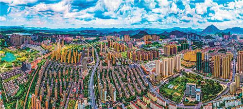 """""""十三五""""以来,铜官区加强城市管理,奋力建设长三角区域城市社会治理先行区。图为主城区铜官区一角。 周久生 摄"""