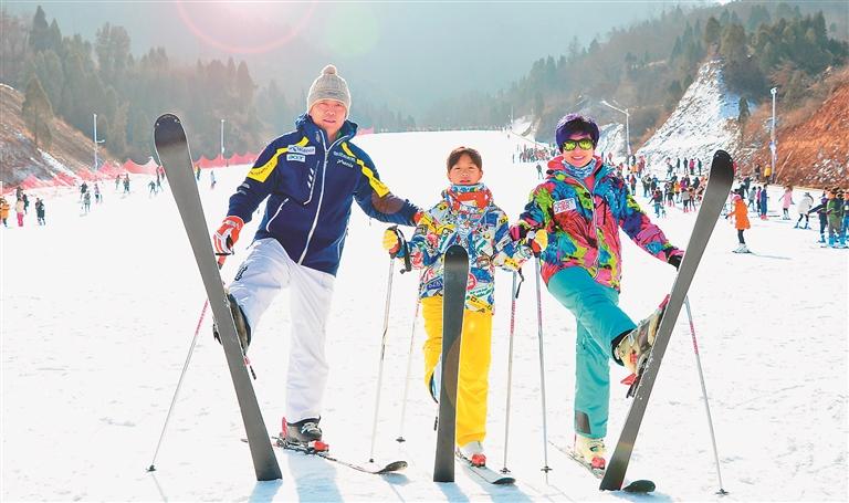 欢乐滑雪。