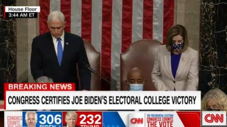美国国会正式确认!彭斯宣布拜登306票当选总统