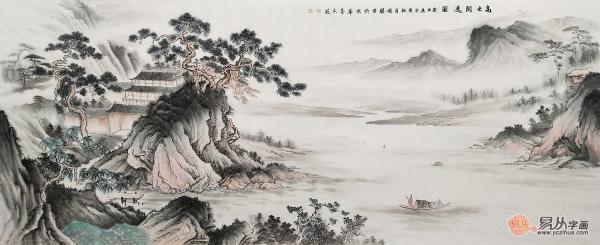 李国胜新品八尺横幅仿古山水画《高士闲逸图》 作品来源:易从网
