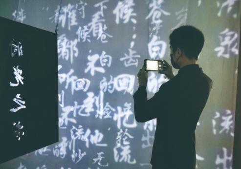 """在""""万花星辰""""沉浸式艺术展上,人们欣喜地感受着高科技展陈手段与传统文化的交融。 本组摄影 毕馨月"""