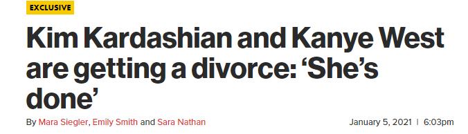 """金卡戴珊被曝与侃爷离婚!""""他总是谈论竞选,说着疯狂的脏话"""""""
