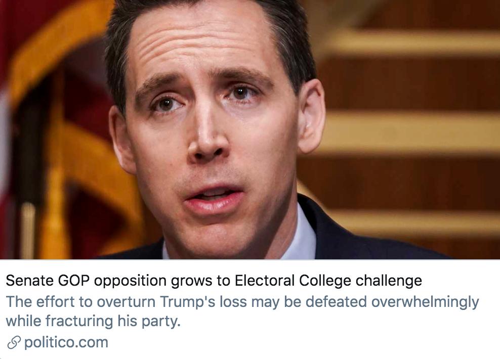 共和党参议员向选举人团投票结果发起挑战。/ Politico报道截图