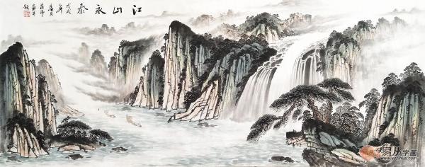千里江陵 蒋伟最新力作一帆风顺《江山永泰》 作品来源:易从网