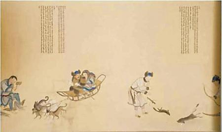 《皇清职贡图》中记录了三只犬用力拉冰床