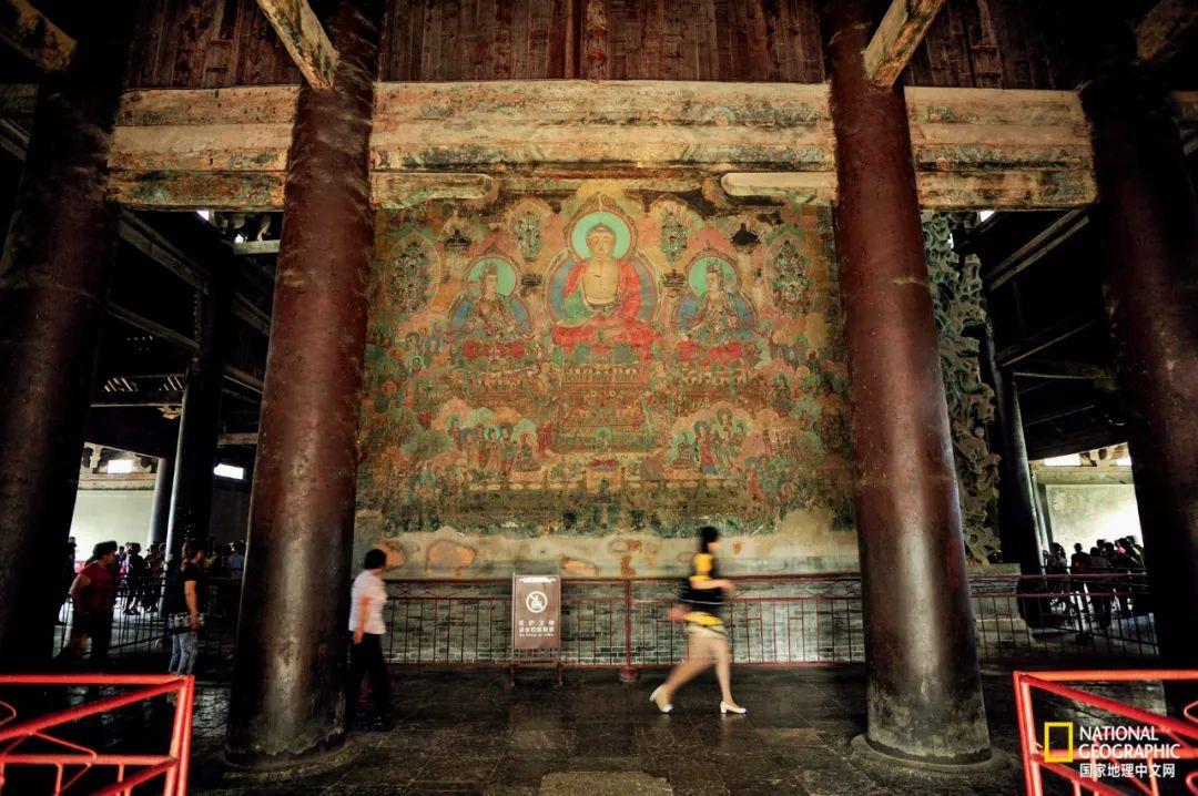 河北正定隆兴寺摩尼殿内壁画,绘于明成化年间,构图雄伟。本图摄影:赵钢