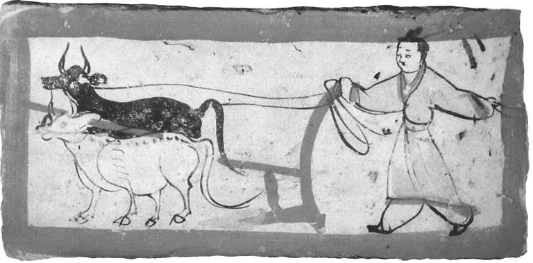 """高台骆驼城出土的""""牛耕图""""壁画砖"""