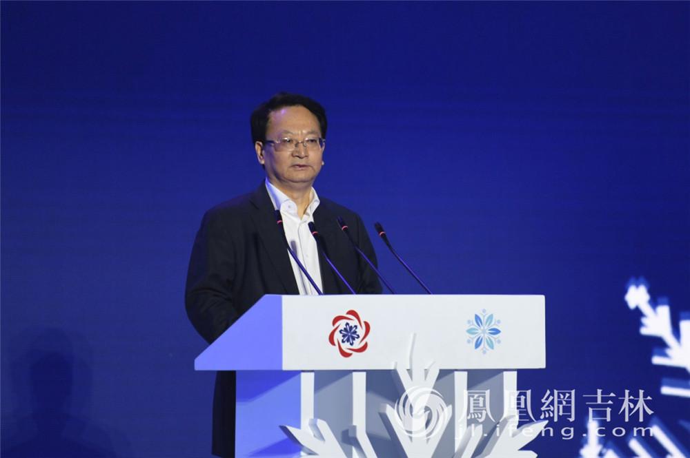 吉林省委书记景俊海在第五届吉林冰雪产业博览会上致辞。梁琪佳摄