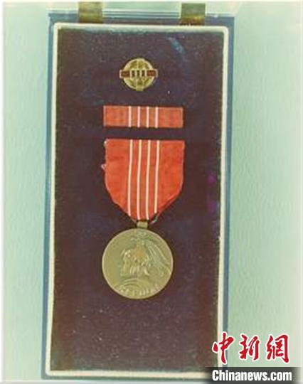 美国总统杜鲁门授予赵祖康的美国自由勋章。 上海交大供图 摄