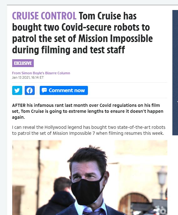 阿汤哥购买防疫机器人。监督《碟中谍7》片场防疫情况