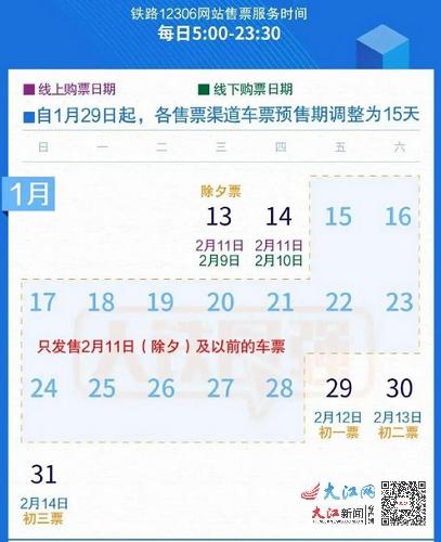 铁路部门调整车票预售期为15天 开车前8天及以上退票免费