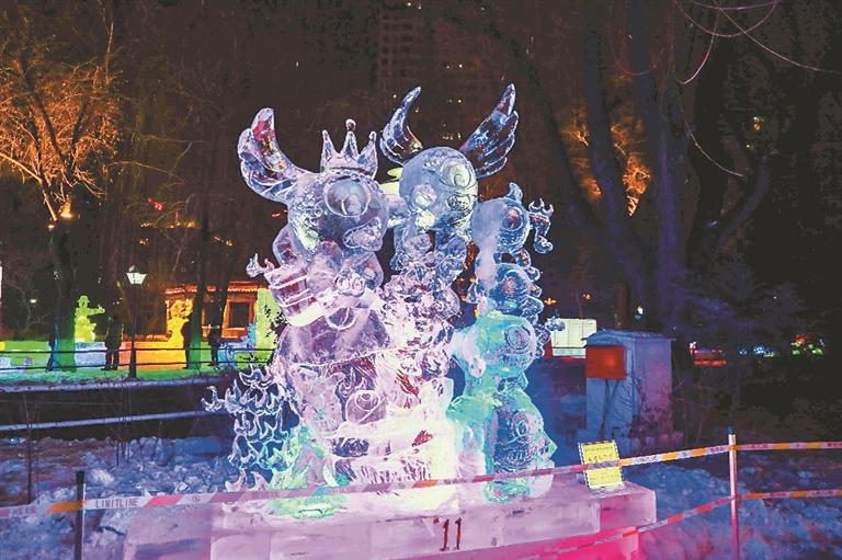兆麟公园冰雕作品。刘瑞摄