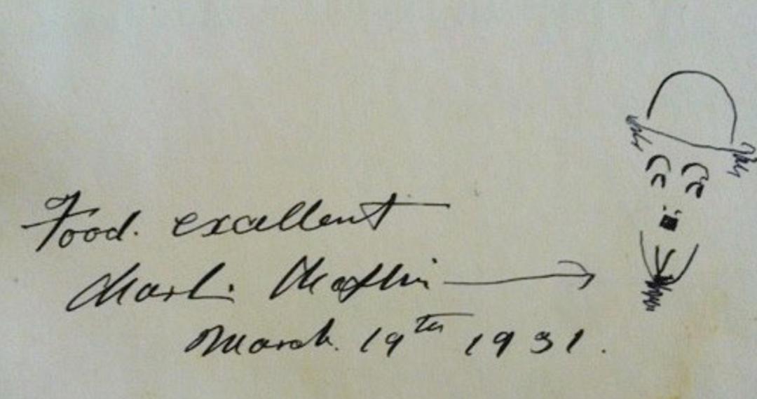 卓別林寫下手稿,稱讚花神咖啡館的食物