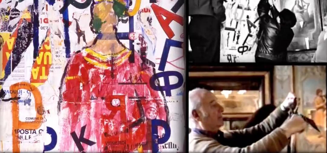Mimmo Rotella在花神咖啡館布置,和他創作的作品
