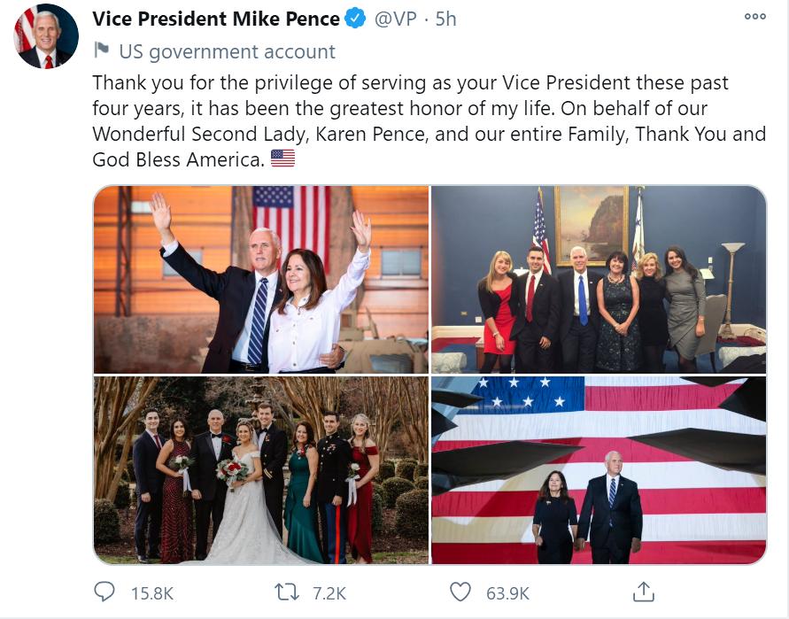 彭斯发告别推特,配文四张照片没有一张有特朗普