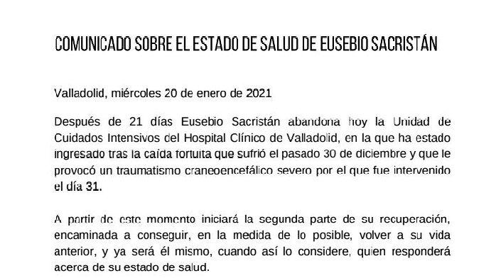 巴萨名宿尤塞维奥离开重症监护室,将进入第二阶段恢复疗程
