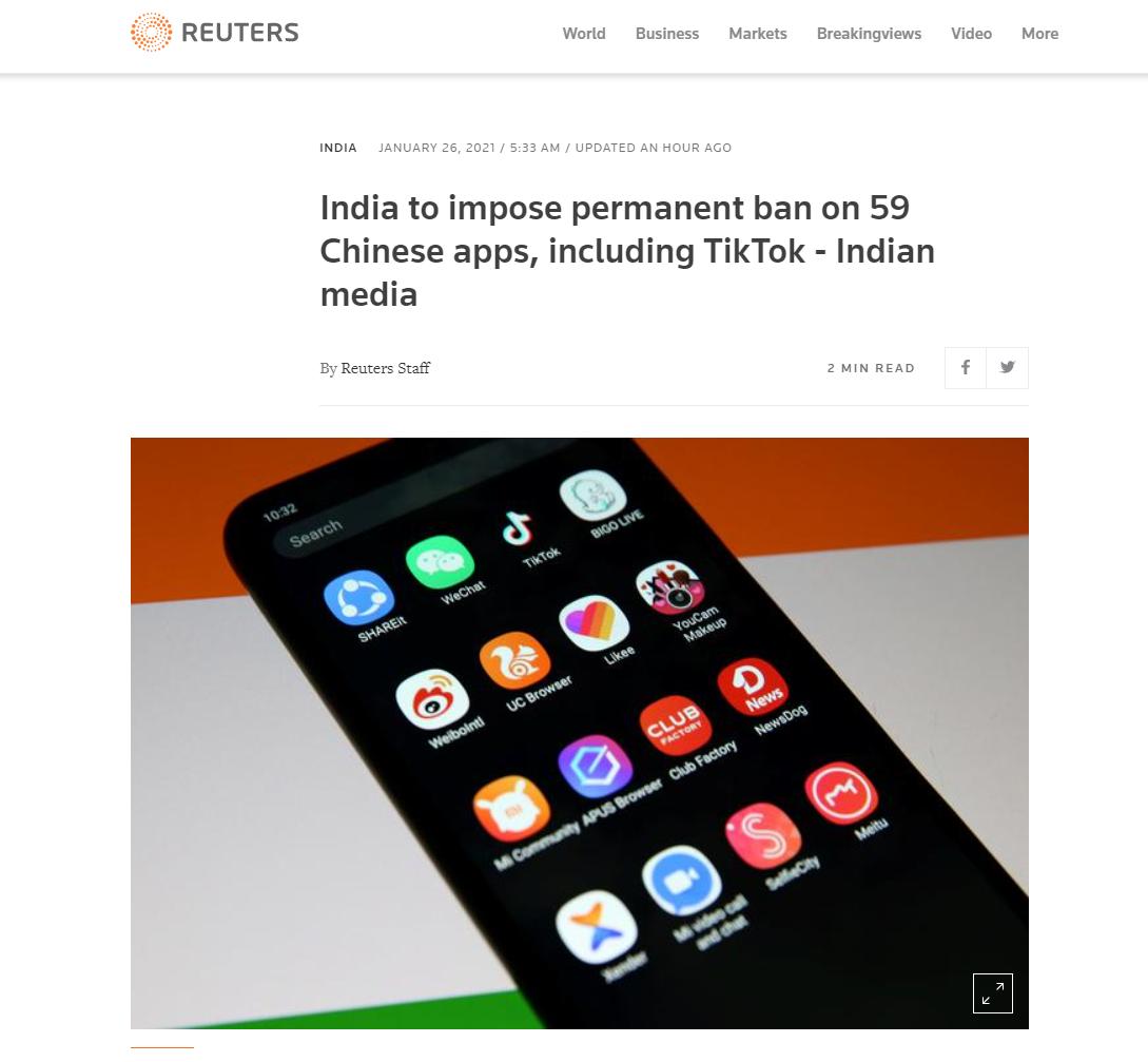 印度宣布将永久禁59款中国APP,包括TikTok,百度等