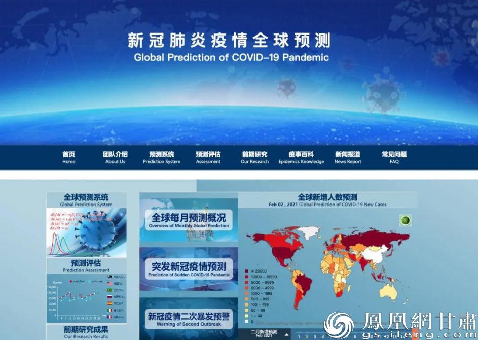 系统首页显示疫情全球人数预测 兰州大学供图