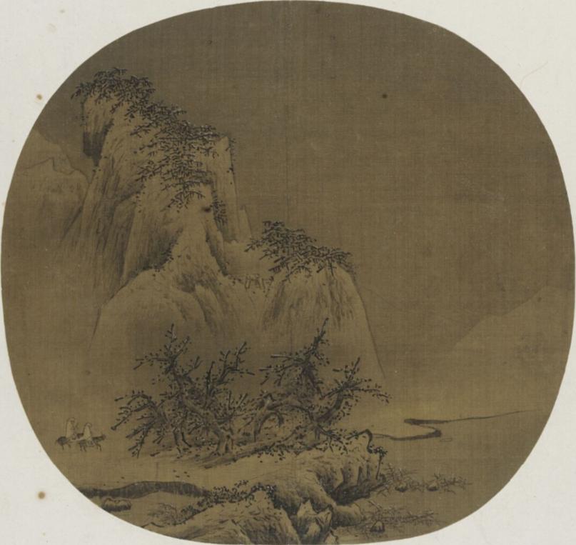 南宋 梁楷 《雪山行旅图》 美国弗利尔美术馆藏 图绘两人骑驴走在群山间的小路上