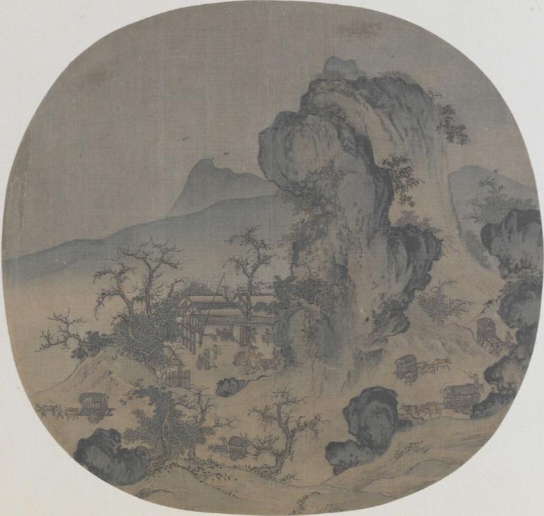 南宋 佚名 《山店风帘图》 故宫博物院藏 图绘一家位于曲折山道上的小旅店
