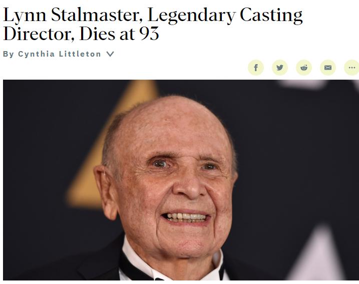 奥斯卡终身成就奖获得者林恩·斯塔马斯特去世 享年93岁
