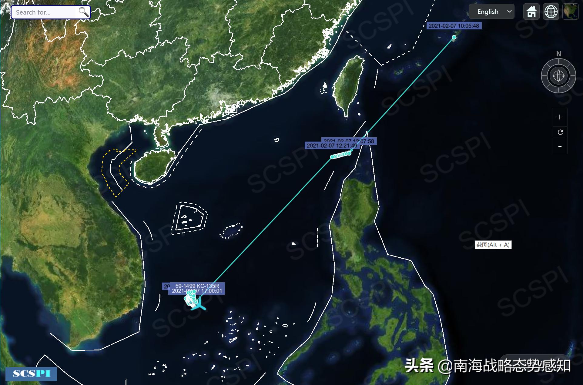 美军机现身南沙群岛以西海域,轨迹奇怪(图2)
